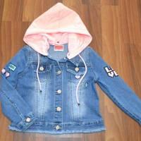 Куртка джинсовая для девочки с капюшоном синяя (4-12)