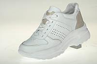 Туфли (кроссовки) белые женские из натуральной кожи MIDA 210358 (34) белый