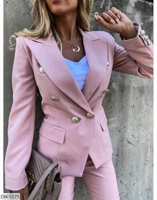 Женский  костюм однотонный стильный модный брюки и пиджак. Размеры: 42-44, 44-46