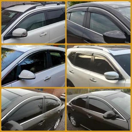 """Дефлекторы окон Mazda 3 2003-2009 седан П/K скотч """"FLY"""" (с хром-полосой)"""