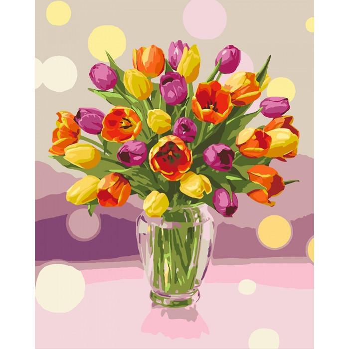 Картины по номерам  Солнечные тюльпаны   / коробка 40*50   арт. КН3064