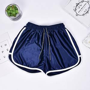 Женские шорты со шнурком для пляжа и спорта Caroset синий атлас