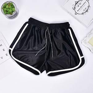 Женские шорты со шнурком для пляжа и спорта Caroset черный атлас размер L