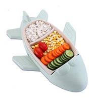 Детская бамбуковая посуда Самолет, двухсекционная тарелка с подставкой BP16 Airplane Blue SKL25-149773