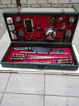 Набор шампуров и принадлежностей для пикника в чемодане., фото 2