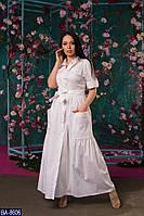 Длинное платье-халат под пояс Размер: 50, 52, 54, 56 арт 5117