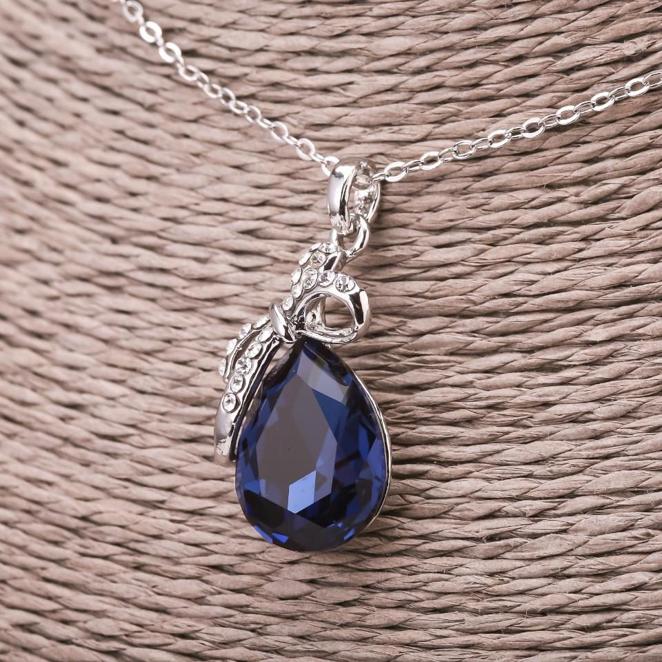 Кулон на ланцюжку Крапля колір синій d-16х29мм L-45-50см сріблястий метал