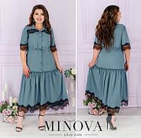 Нарядное платье женское декорировано кружевом (5 цветов) ЕЕ/-8624 - Серый, фото 1