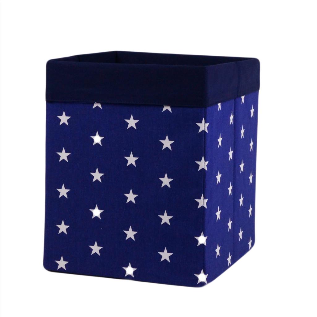 Скринька ( коробка ) для зберігання, 25*25*30 см, (бавовна), з відворотом (зірочки на синьому/темно-синій)