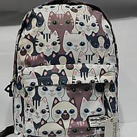 """Яркий городской рюкзак """"Котики"""", школьный рюкзак, спортивный рюкзак"""