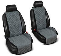 """Накидки на сидения из Алькантары """"PREMIUM"""" серые ,широкие, на передние сиденья"""
