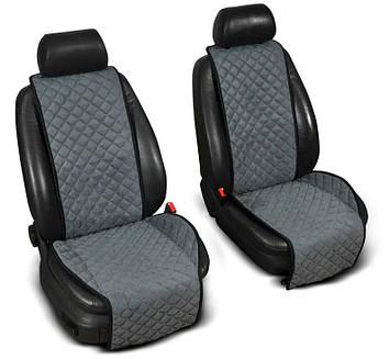 """Накидки на сидіння з Алькантари """"PREMIUM"""" сірі ,широкі, на передні сидіння"""