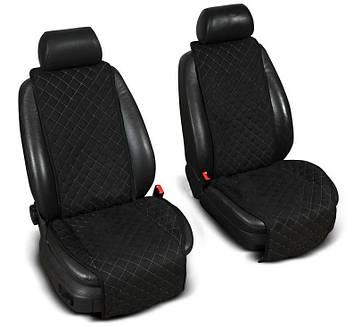 """Накидки на сидіння з Алькантари """"PREMIUM"""" чорні ,широкі, на передні сидіння"""