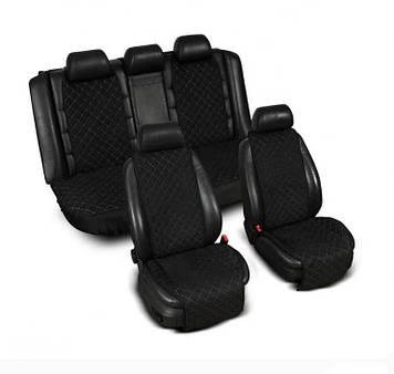 """Накидки на сидіння з Алькантари """"PREMIUM"""" чорні ,широкі, повний комплект"""