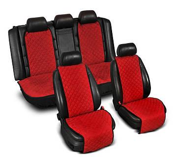 """Накидки на сидіння з Алькантари """"PREMIUM"""" червоні ,широкі, повний комплект"""