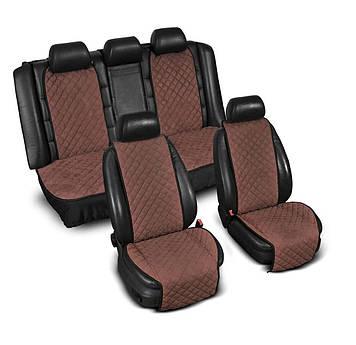 """Накидки на сидіння з Алькантари """"PREMIUM"""" коричневі ,широкі, повний комплект"""