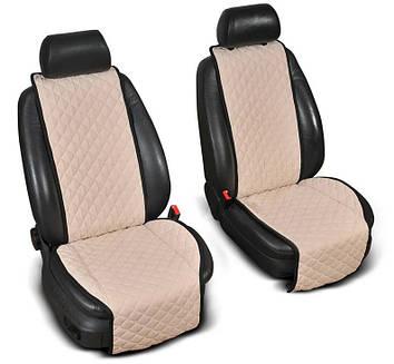 """Накидки на сидіння з Алькантари """"PREMIUM"""" бежеві ,широкі, на передні сидіння"""