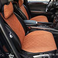 """Накидки на сидения из Алькантары """"PREMIUM"""" коричневые ,широкие, на передние сиденья"""