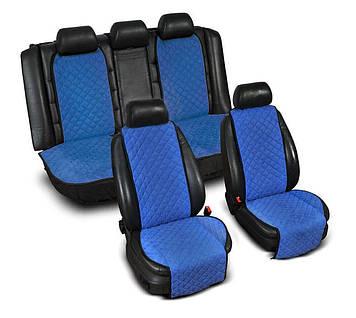 """Накидки на сидіння з Алькантари """"PREMIUM"""" сині ,широкі, повний комплект"""