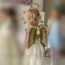 Крылья ангела + золотой нимб  золотые  крила айвори  Украшение молочные крила янгола