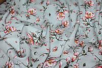 Тканина штапель, 100% віскоза. №812. Квіткова поляна, Фон спокійно голубий.