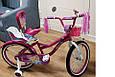 Детский фиолетовый велосипед для девочки Flora 20 дюймов с корзинкой и багажником для куклы от 10 лет, фото 4