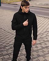 Костюм спортивный мужской демисезонный черный, комплект штаны и куртка
