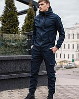 Спортивный костюм мужской синий софтшел, брюки-карго и куртка на флисе