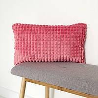 Декоративная плюшевая подушка арбузового цвета