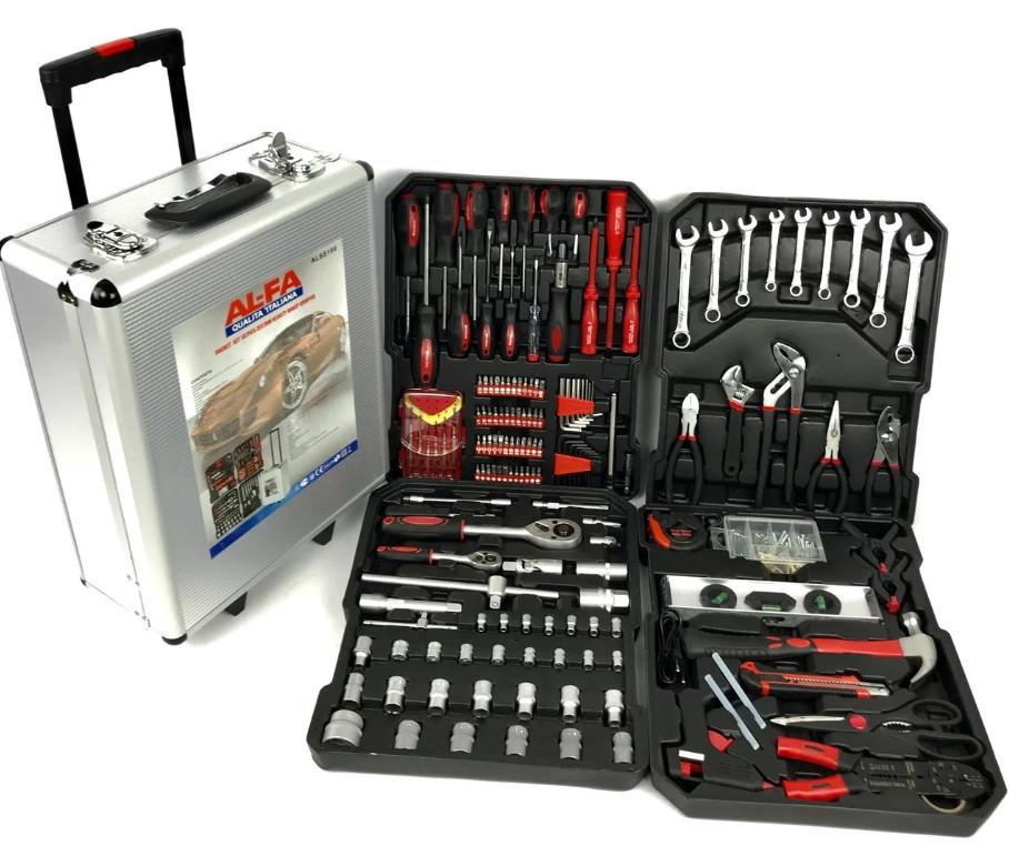Набор инструментов AL-FA 187 единиц, в кейсе на колесиках