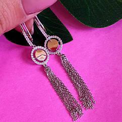 Серебряные серьги-кисти - Серебряные серьги-цепочки с золотом