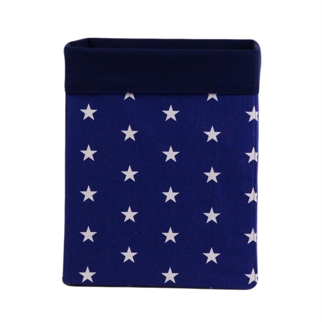 Скринька для зберігання, 30*30*40 см, (бавовна), з відворотом (зірочки на синьому/темно-синій)