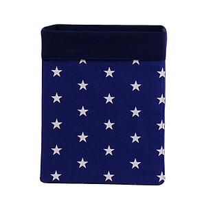 Ящик (коробка) для хранения, 30 * 30 * 40 см, (хлопок), с отворотом (звездочки на синем / темно-синий)