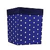 Ящик (коробка) для хранения, 30 * 30 * 40 см, (хлопок), с отворотом (звездочки на синем / темно-синий), фото 2