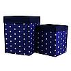 Скринька для зберігання, 30*30*40 см, (бавовна), з відворотом (зірочки на синьому/темно-синій), фото 4