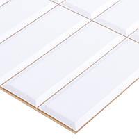 Пластиковая Декоративная Панель ПВХ плитка БЕЛАЯ,БЕЖЕВЫЙ ШОВ (955X480) мм