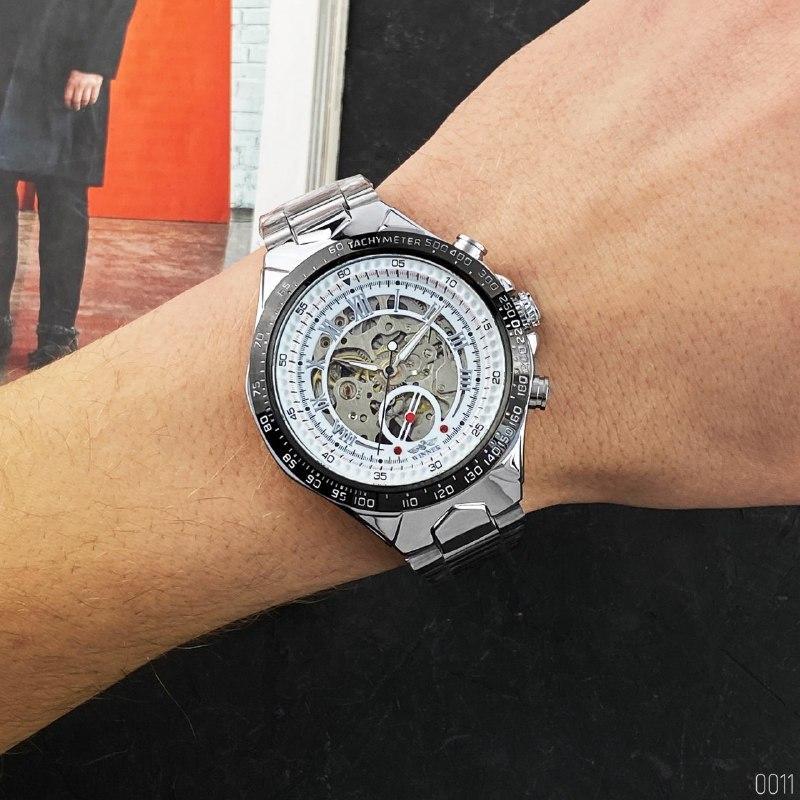 Часы механические Winner 8067 Silver-Black-White Red Cristal