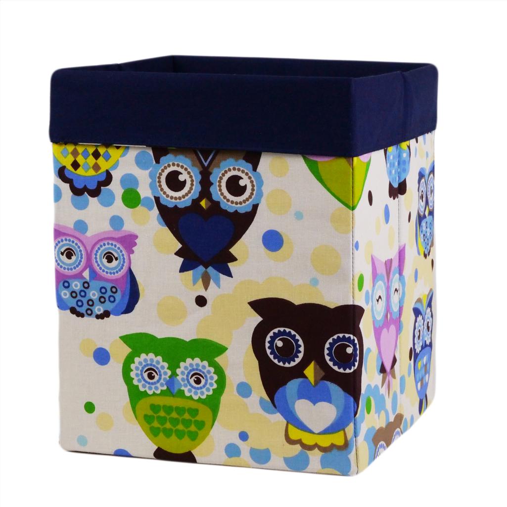 Скринька для зберігання, 25*25*30 см, (бавовна), з відворотом (казкові сови блакитні/темно-синій)