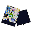 Скринька ( коробка ) для зберігання, 25*25*30 см, (бавовна), з відворотом (казкові сови блакитні/темно-синій), фото 2