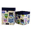Скринька ( коробка ) для зберігання, 25*25*30 см, (бавовна), з відворотом (казкові сови блакитні/темно-синій), фото 3