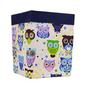Ящик (коробка) для хранения, 30 * 30 * 40см, (хлопок) с отворотом (сказочные совы голубые /темно-синий)