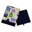 Скринька для зберігання, 30*30*40 см, (бавовна), з відворотом (казкові сови блакитні/темно-синій), фото 2