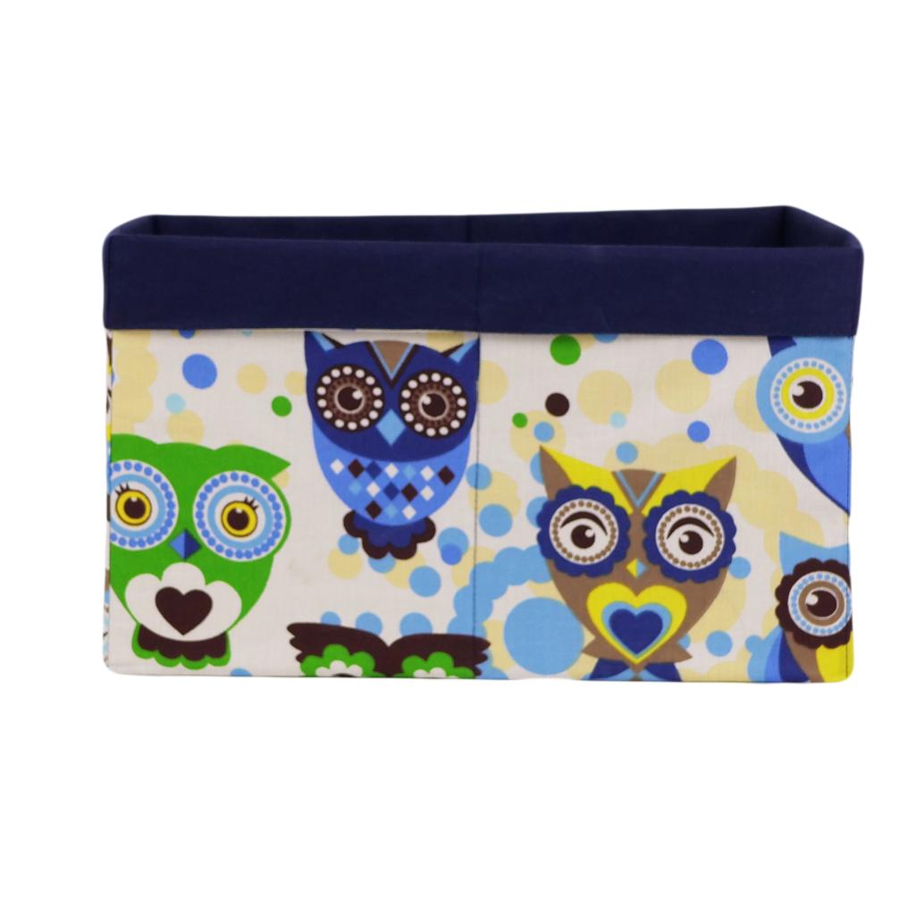 Ящик (коробка) для хранения, 25 * 35 * 20см, (хлопок) с отворотом (сказочные совы голубые / темно-синий)