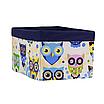 Ящик (коробка) для хранения, 25 * 35 * 20см, (хлопок) с отворотом (сказочные совы голубые / темно-синий), фото 2