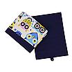 Ящик (коробка) для хранения, 25 * 35 * 20см, (хлопок) с отворотом (сказочные совы голубые / темно-синий), фото 3