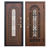 Двери входные уличные Vikont 95 мм Vinorit Грецкий орех Патина (стеклопакет + ковка) Vinorit