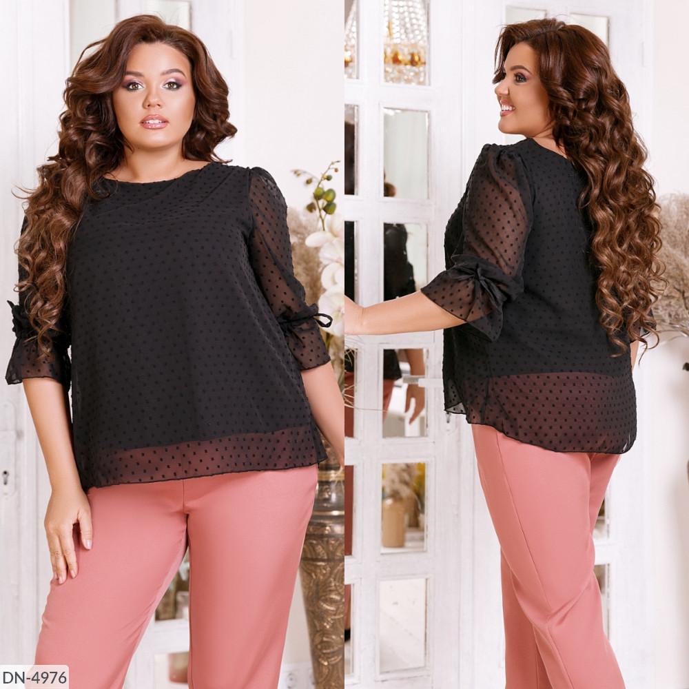 Блузка стильная на подкладке, чёрная, № 204, 48-58р.