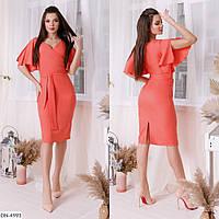 Модное платье с воланами, коралл, №215, 42-46р.