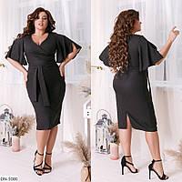 Модное платье с воланами, чёрное, №215, 48-58р.