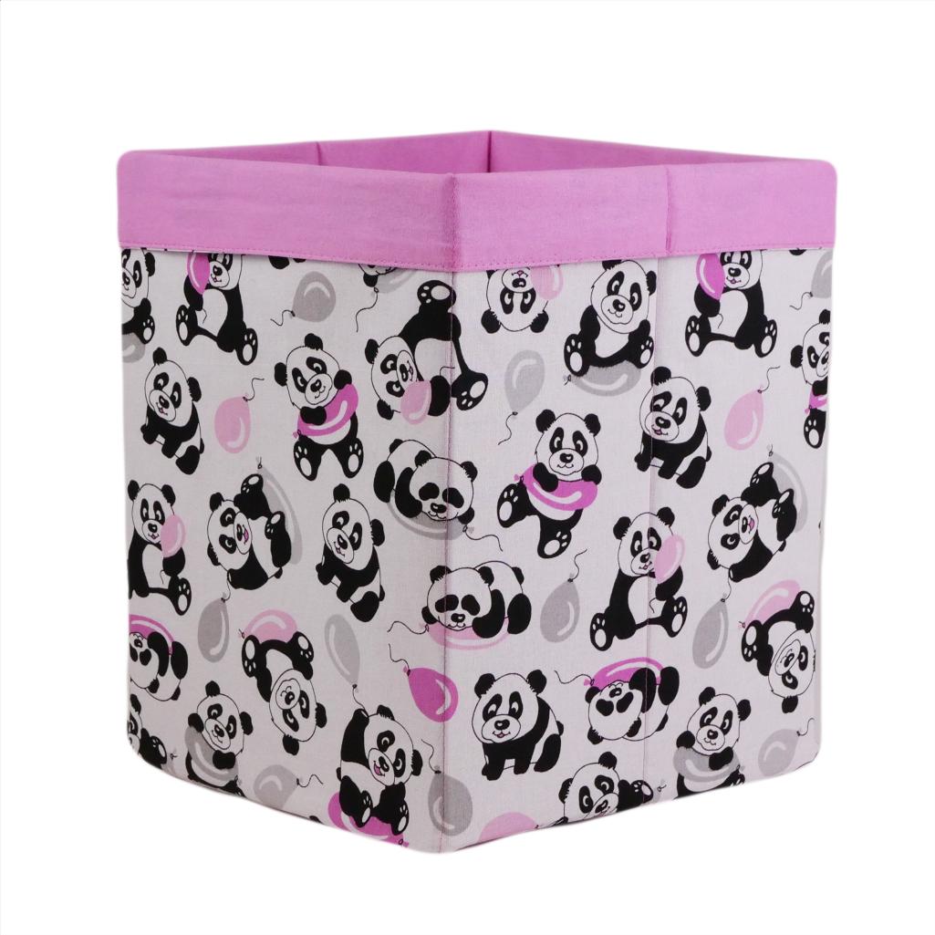Скринька для зберігання, 25*25*30 см, (бавовна), з відворотом (панди з кульками/рожевий)